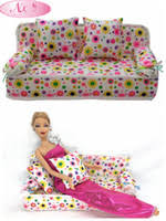 cheap nk doll accessories cute dollhouse furniture flower cloth sofa couch with 2 cushions for barbie barbie dollhouse furniture cheap