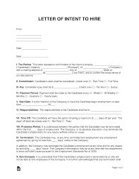 Free Letter Of Intent To Hire Template Sample Pdf Word