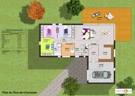 plan maison plain pied contemporaine