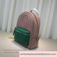 gucci soho leather chain backpack pink and green 431570