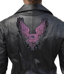 pink flying bald eagle lady rider embroidered biker patch large