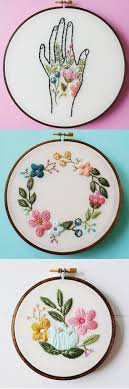 A brilliant combination of flowers and thread by Cinder & Honey. #etsy # embroidery