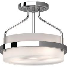 Chrome Flush Mount Ceiling Light Volume Lighting Emery 2 Light Chrome Indoor Semi Flush Mount Ceiling Fixture With Frosted Glass Drum