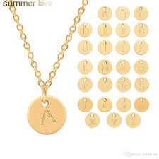 whole hot a z intial letter round pendant necklace for women sliver gold plating 26 alphabet name charm necklace with gift card whole custom