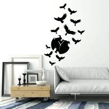 wall clocks wall decal clock vinyl silhouette flock of birds ravens stickers details about large
