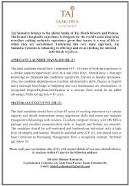 Assistant Laundry Manager Material Executive At Taj Samudra