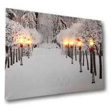 Winter Pictures With Led Lights Amazon Com Banberry Designs Snowy Pathway Print Led