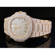 Nautilus Rose Mens 18k Diamond Set Patek 1r-001 Philippe Pave Watch Gold 5711