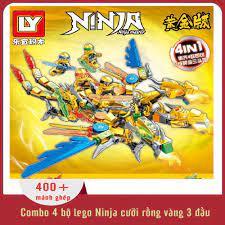 Shop bán Đồ chơi trẻ em thông minh xếp hình lego Ninjago combo 4 bộ lego  Ninja cưỡi rồng vàng 3 đầu, 400+ mảnh ghép, nhựa ABS an toàn cho trẻ