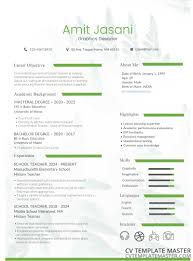 Cv Template With A Foliage Background Bold Green Headers