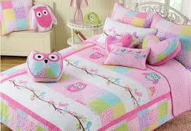 Amazon.com: 2 PC Twin Quilt &&; Sham Set Owl Birds Pink ... & Amazon.com: 2 PC Twin Quilt & Sham Set Owl Birds Pink Turquoise Green  Cotton Girl Bedding: Baby Adamdwight.com