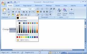 Ms Word 2007 Change Font Color