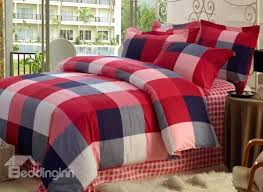 checked bedding red grey plaid comforter king