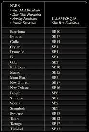 Foundation Shade Comparison Chart Illamasqua Skin Base Foundation Bugs Beauty Blog