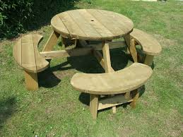 picnic table 8 seats round pub bench garden furniture winchester wrb38g
