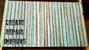 weaving a twined rag rug time lapse