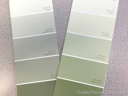 gray green paintSoftened Green in the Bedroom from Thrifty Decor Chick