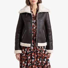 <b>Куртка</b>-<b>бомбер</b> из искусственной кожи каштановый <b>La Redoute</b> ...