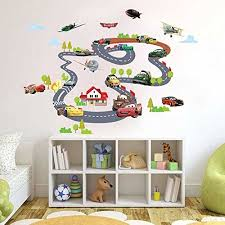 luvcals cartoon cars circle race track wall stickers for kids room children boy bedroom wall decals