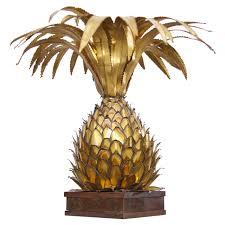 huge maison jansen brass pineapple table lamp in palm tree style