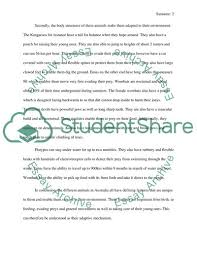 Australia Essay How Have Australian Animals Adapted To Their Environment Essay