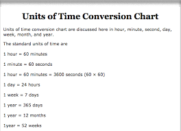 Units Of Time Chart 74 Qualified Conversion Chart Hours To Seconds