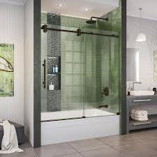 dreamline enigma xo 55 in to 59 in w frameless oil rubbed bronze bypass sliding bathtub door