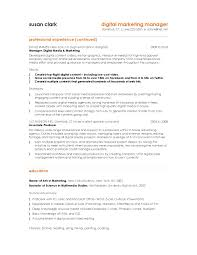 Brilliant Ideas of Digital Marketing Sample Resume In Format Layout