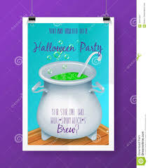 Vector Halloween Party Invitation Poster With Hand Lettering