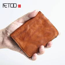 <b>AETOO Original handmade</b> retro men's short leather wallet men's ...