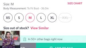 How To Select Size On Myntra Tops Kurtis Palazzos While Shopping Online Hindi