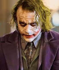 close up of heath ledger as the joker in the dark knight showcasing his