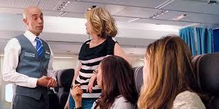 Airline stewardess hand job