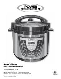 Electric Pressure Cooker Time Chart Pdf Power Pressure Cooker Xl Owner S Manual Pdf
