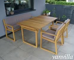 Vanvilla Gartenmöbel Set Holz 1 Tisch 1 Bank 2 Sessel Set6 Auflage Braun