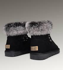 ... UGG Fox Fur Mini Boots 5859 Black Classical ...