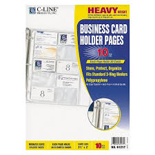 C Line Business Card Binder Pages Holds 20 Cards 8 18 X 11 14