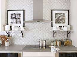 herringbone pattern tile backsplash
