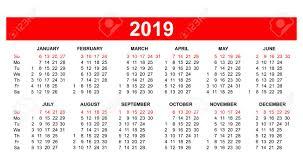 american template template usa american calendar grid 2019 in vector