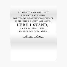 Here I Stand Martin Luther Quote Reformation Poster