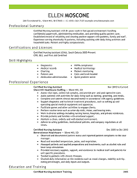 certified nursing assistant resume objective examples certified nurse aide resume