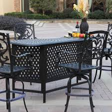 darlee santa barbara 5 piece cast aluminum patio party bar set with swivel bar stools