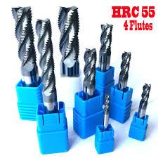 hrc55 2 flute 2mm 3mm 4mm 5mm end mill alloy carbide milling tungsten steel cutter