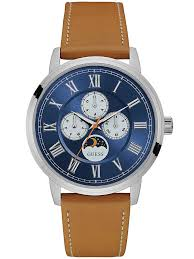 guessmens blue brown leather strap watch w0870g4