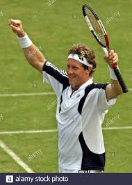 Jonas Bjorkman of Sweden, world's top doubles player, celebrates his  victory against India's Prakash Amritraj in the first singles of the Davis  Cup World Group playoff tie between the two countries in