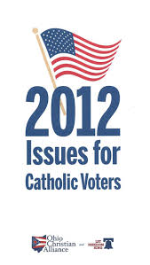 here is a catholic issues voter guide it deals with issues of life and traditional marriage here for the printable version