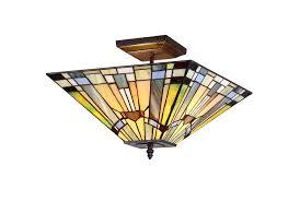 xinyude lighting xinyude lighting kinsey 2 light tiffany style mission semi flush ceiling fixture wi