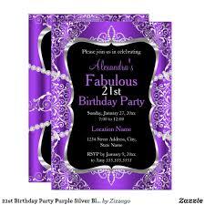 Black And Purple Invitations 21st Birthday Party Purple Silver Black Invitation Zazzle