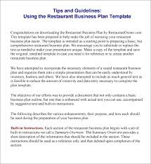 Restaurant Business Plan Template Tips And Instructions Using The Restaurant Business Plan Template 9
