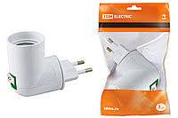 Переходник <b>вилка</b>-<b>Е27 с</b> выключателем, белый, <b>TDM Electric</b> ...